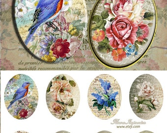 FlowersV -  30x40 mm oval Images Digital Collage Sheet Printable download for bezel settings cabochons glass and resin pendants