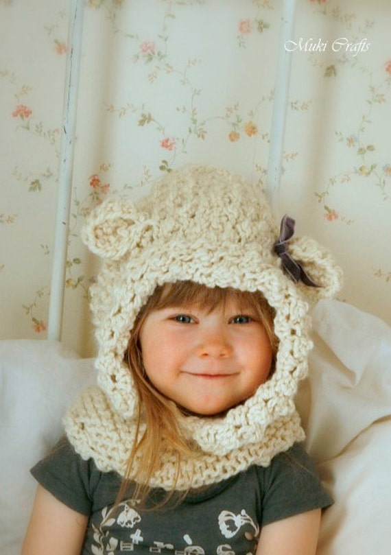 KNITTING PATTERN hooded cowl sheep Ulla knitted flat (baby, toddler, child, adult sizes)