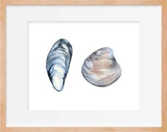 Mussel and Clam Print, Beach, Nautical, Shell Watercolor Painting, Shells, Food Art, Beach House Decor, Nautical Decor, Beach Room, Bathroom
