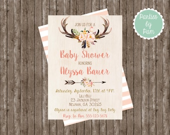 Tribal Invitation Boho Baby Shower Watercolor