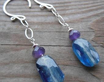 Kyanite and Amethyst Gemstone Sterling Silver Dangle Earrings