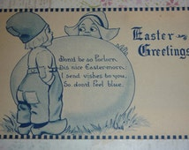 Dutch Boy and Girl With Giant Easter A/S Wall  Antique Postcard