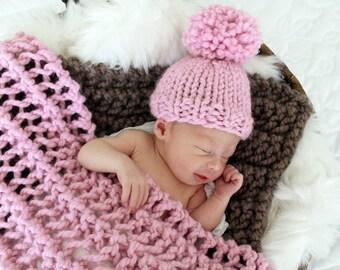 Knit Hat Baby Pom Pom Newborn Blossom- Hibiscus Hat