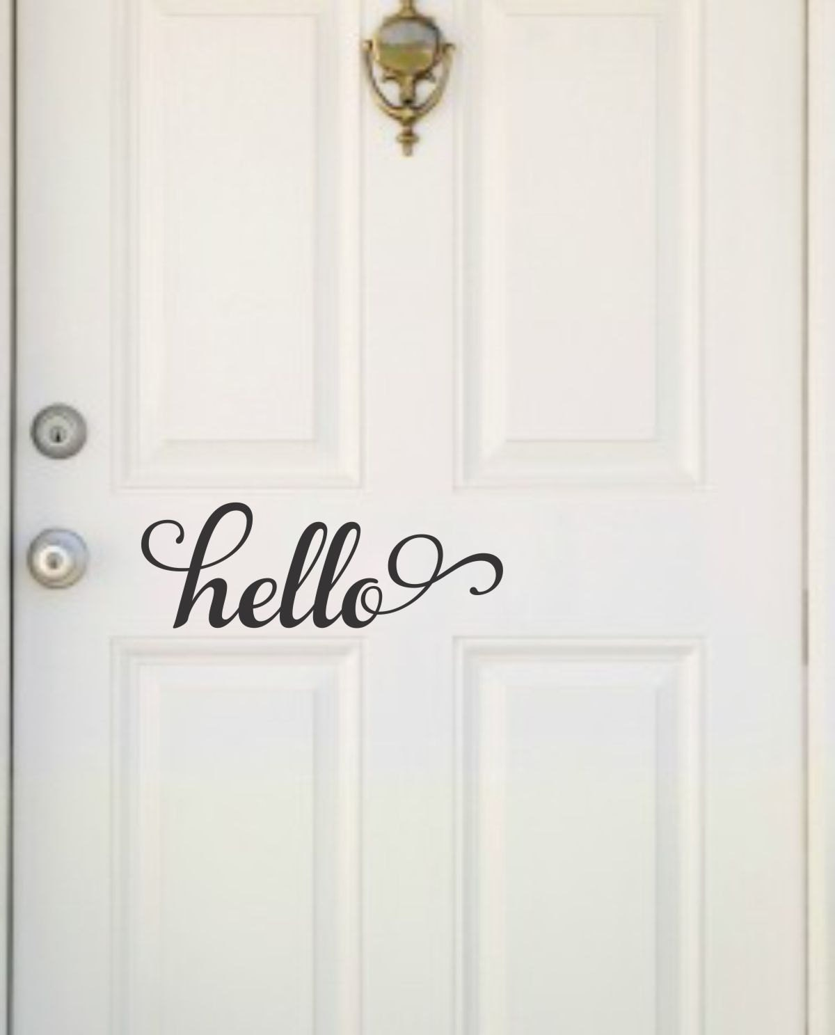 Front door decal hello door decal hello vinyl lettering hello for Door vinyl design
