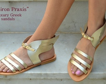 Ancient Greek Sandals,Hermes Winged Greek Sandals,Natural Leather Sandals,Mythology inspired Sandals,Greek leather sandals,Gold sandals