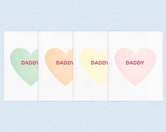 "Father's Day ""Daddy""  Letterpress Gay Queer LGBT Candy Heart Card"