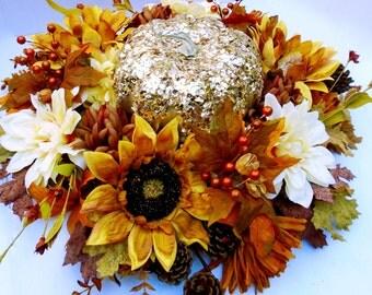 Luxury Fall Centerpiece with Metallic Pumpkin, Dinning Table Centerpiece,Thanksgiving Arrangement,