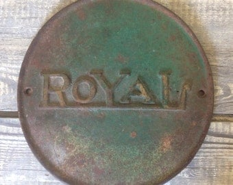 "Antique salvage cast iron ""Royal"" boiler plate with original green paint"
