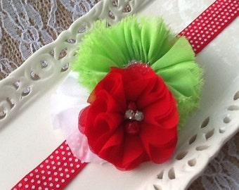 Christmas Baby Headband - Baby Headbands - Baby Girl Red Headband - Girls Green Headband - Red, White and Lime Chiffon Flower Girls Headband