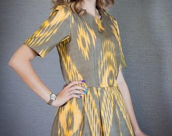Handwoven ikat cotton dress Amani Yellow