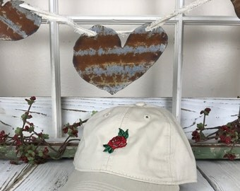 Embroidered Rose | RED ROSE , Embroidered , Baseball Cap , Low Profile , Roses , Flowers , Plants  , Tumblr Hat , Tumblr Dad Hat , Dad Hat