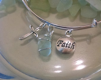 REAL SEA GLASS bracelet, Faith charm, cross charm silver bangle, inspirational bracelet, Expandable bangle, Adjustable bangle