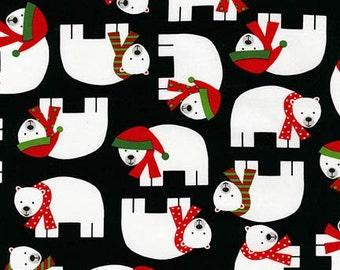 Polar Bear Fabric, Jingle 3 AAK 15267-2 Black, Robert Kaufman, Ann Kelle, Christmas Fabric, Polar Bear Quilt Fabric, Christmas Cotton