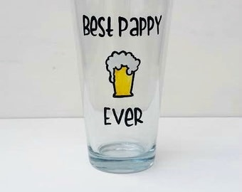 Best Pappy Ever handpainted pint beer glass
