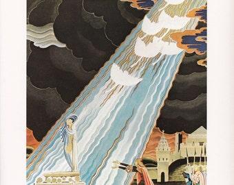 The White Swans  Kay Nielsen vintage art nouveau print illustration folk tale fairy tale home decor  8.5x11.5 inches