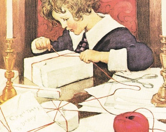 Christmas vintage fine art print illustration wrapping presents with red twine by Jessie Willcox Smith 8.5x11.5 inches