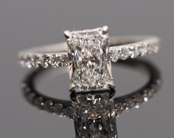 Radiant Cut Solitaire Engagement Ring with Diamonds on Band & Around Diamond, Radiant Cut Semi Mount, White Gold Radiant Cut Engagement Ring