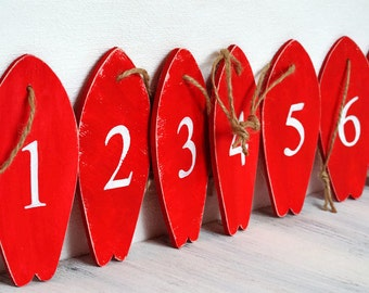 Red surfboards Wooden tags Red table numbers Beach decorations Nautical wedding decor Red party favors Reception numbers Custom color