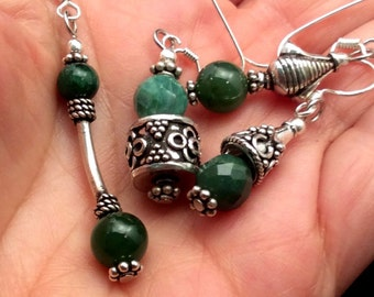 9 different Green Jade Earrings. Sterling Silver. free US ship