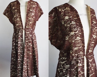 Vintage 1950s Brown Lace Wrap Dress / 50s Fit And Flare Dress / New Look Overdress / Cocktail Dress / Illusion Lace