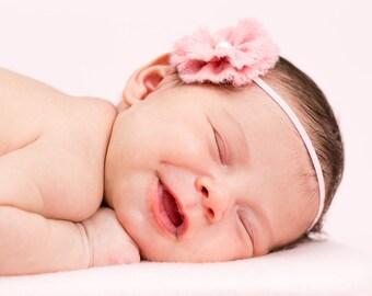 Baby Girl Vintage Pink Felt Flower Headband with Pearl Embellishment
