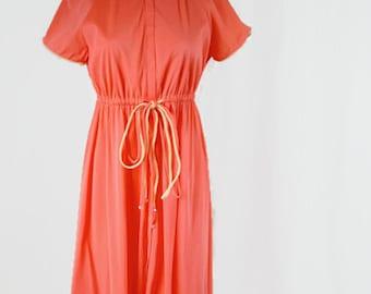 Vintage Vanity Fair House Robe Dress Night Gown 1960s Lounge Wear Maxi Retro Boho