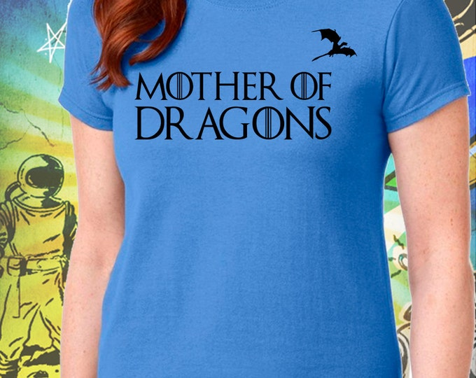 Classic Mother of Dragons Women's Blue T-Shirt Game of Thrones Mother of Dragons Khaleesi