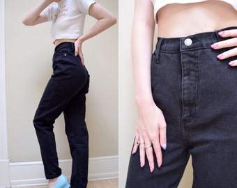 80s 90s Black High Waist Skinny Jeans // Northwest Blue Denim // 25 26