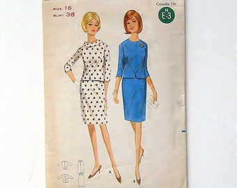Vintage 1965 Butterick Misses' Two-Piece Dress Sewing Pattern #4141 - Size 16 (bust 36)