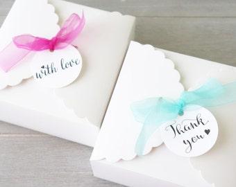 10x Elegant Favour Boxes - Thank You Gift Boxes - Wedding Cake Box - Baby Shower Favor - Christening Bomboniere - Macaron Chocolate