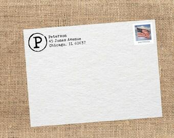 Return Address Stamp // Monogram Type // Self-Inking Stamp // Wood Handle Stamp // Rustic Return Address Stamp // Typewriter Stamp
