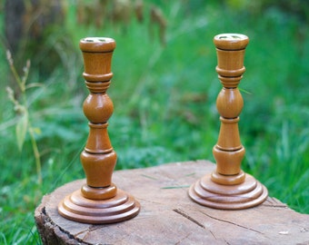 Hand crafted Sapele and Keroin candlestick holders H 19.5cm x D 9.5cm