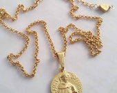 Necklace - St Dominic de Guzmán - 18K Gold Vermeil - 18mm + 18 inch 18K Gold Plated chain
