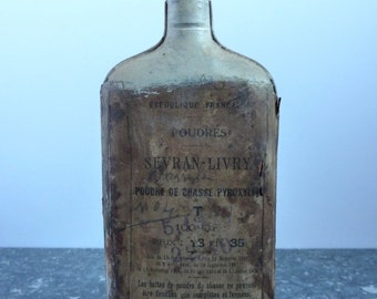 vintage french gunpowder flask, bottle