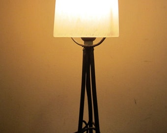 Antique French ART NOUVEAU table lamp wrought iron & pate de verre shade Schneider, early 1900