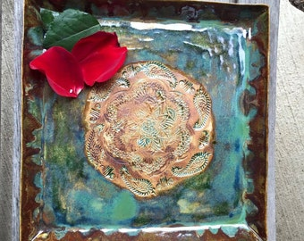 Square Serving Platter -Hand Stamped - Antique Green With Paisleys - Handmade Pottery