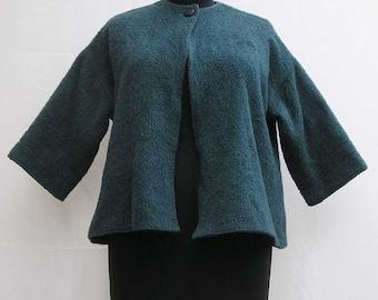 Blue vintage jacket, slate blue jacket, swing coat, plus size jacket, plus size coat slate blue coat, 70s 1970s seventies 80s 1980s eighties
