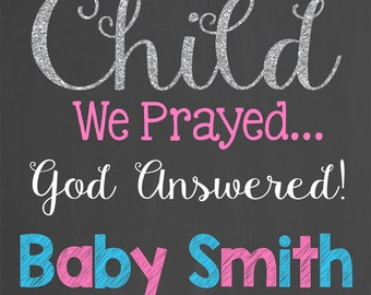 For This Child We Prayed Pregnancy Announcement Chalkboard Printable Design