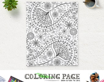 Adult Printable Coloring Page Paisley Pattern Printable