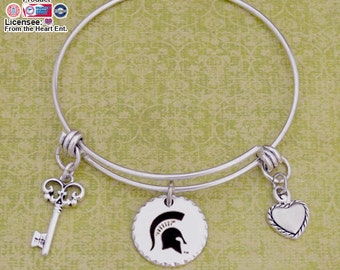 Michigan State Spartans Disk Memory Wire Bracelet