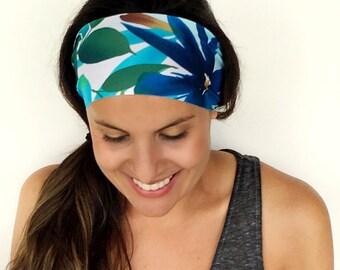 SALE Yoga Headband - Workout Headband - Fitness Headband - Running Headband - Skyflower Print - Boho Wide Headband