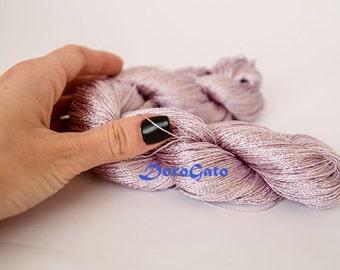 Summer yarn sparkle, Viscose silk yarn, ashes of roses yarn, glitter, shining, Superfine, Lace weight, crochet yarn