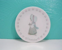 Vintage 1988 Precious Moments December Plate, Month of December Plate, Small Porcelain Enesco Collector's Plate