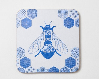 Porcelain Bee coasters, set of 4, drinks mats