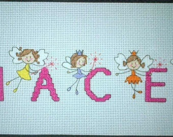 Stunning completed Fairy Cross Stitch Name Sampler