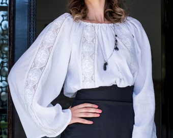 Traditional Lace Romanian Blouse