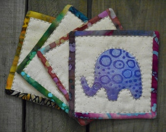 Hand quilted coaster elephant funky mug rugs in blue, teal, gold, rose, set of 4 fabric coasters