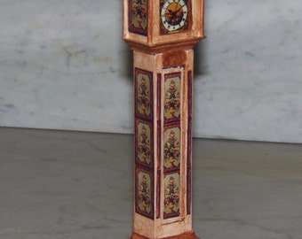 Grandfather Clock for 1:12th Dollhouse. Painted. Decoupaged.