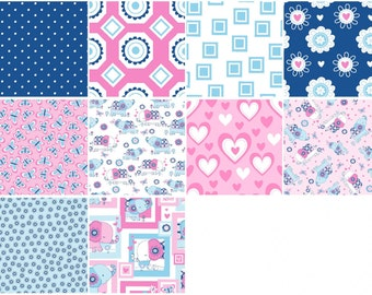Tallulah Elephant Fabric - 10 Fat Quarter Bundle