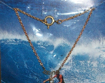 Vintage Hand Carved ABOLONE PENDANT NECKLACE Hawaii Surfers Sealed In Package